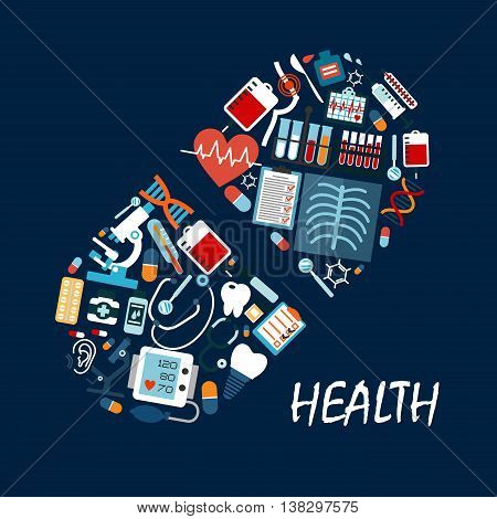 Healthcare icons in pill or tablet shape. Syringe and tooth, dental implant and sphygmomanometer, heart and pulse, stethoscope and microscope, thermometer and flask, radiograph and DNA.