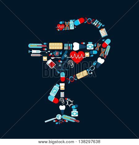 Healthcare icons shaped as pharmacy symbol snake twined around cup or bowl of Hygieia. Tooth and dental implant, syringe and sphygmomanometer, stethoscope and microscope, heart and pulse, thermometer and flask, radiograph and DNA.