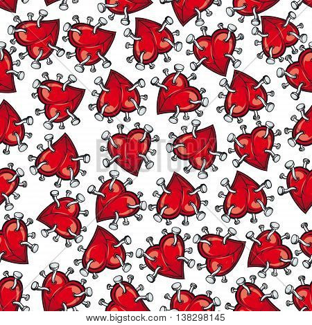 Pinned or nailed cartoon red heart seamless pattern isolated on white. Concept of relationships break or divorce, broken love or passion, heartbreak or heartache, emotion discomfort and sadness or sorrow.