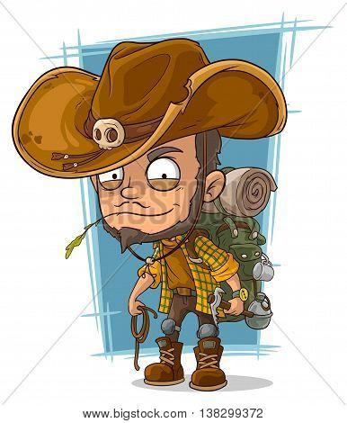A vector illustration of cartoon crafty man in cowboys hat