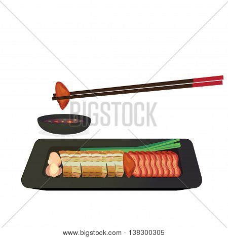 Barbecued red pork and crispy pork in a dish with dipping sauce.