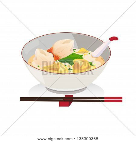 Wanton soup with crab in a bowl with chopsticks.