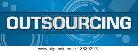 Outsourcing text written over abstract colorful background.