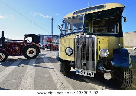 KAUNAS, LITHUANIA - MAR 23: Vintage bus in antique car show in a traditional flea market in second biggest Lithuanian city - Kaunas, on March 23, 2013 in Kaunas, Lithuania