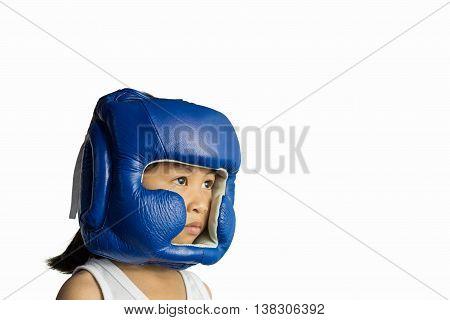 muay thai boxing girl kid in helmet