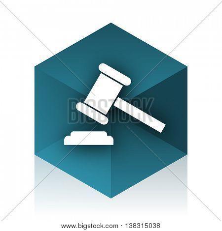 auction blue cube icon, modern design web element