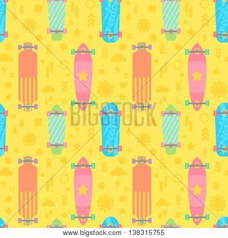 Flat Longboards Seamless Pattern