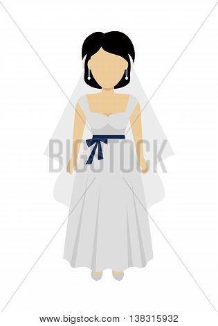 Female character without face in wedding dress vector in flat design. Woman template personage figure illustration for wedding concepts, apps, logos, infographic. Isolated on white background.