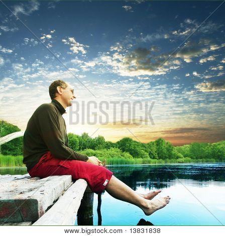 Relaxing on lake