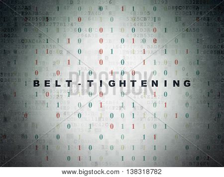 Finance concept: Painted black text Belt-tightening on Digital Data Paper background with Binary Code