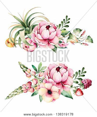 Colorful floral collection with flower, peonies,l eaves, field bindweed, branches, lupin, air plant, strawberry and more.