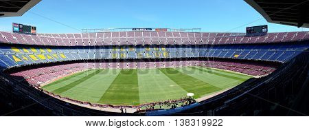 Barcelona, Spain - June 19, 2016: Grandstands and turf stadium Camp Nou in Barcelona, Spain