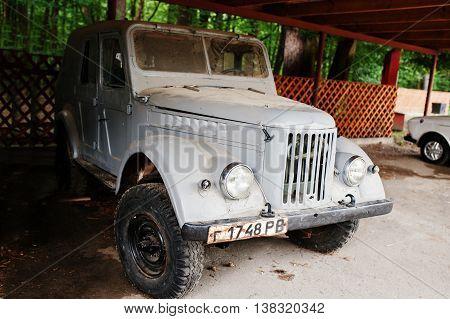 Kostopil, Ukraine - July 13, 2016: Old Vintage Soviet Union Car Gaz-69 Is A Four-wheel Drive Light T