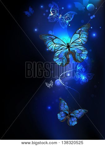 blue glowing butterflies morpho on a dark background. Morpho. Design with butterflies.