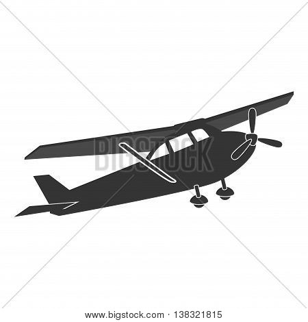 Small airplane in black and white colors isolated flat icon, vector illustration.