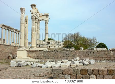 The Pergamon Ancient City and Temple Column