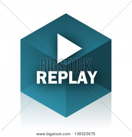 replay blue cube icon, modern design web element