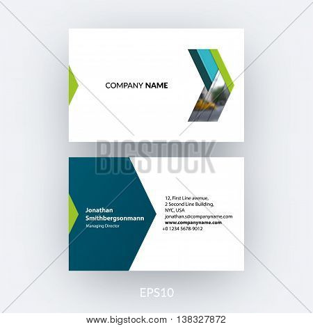 Business card template with blue abstract arrow in flat, material style for business. Minimal, simple and clean design. Creative corporate vector layout.