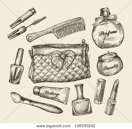 Hand-drawn vintage womens cosmetics. Sketch cosmetic bag, face cream, lipstick, perfume, comb, concealer, mascara, makeup brush Vector illustration