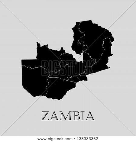 Black Zambia map on light grey background. Black Zambia map - vector illustration.