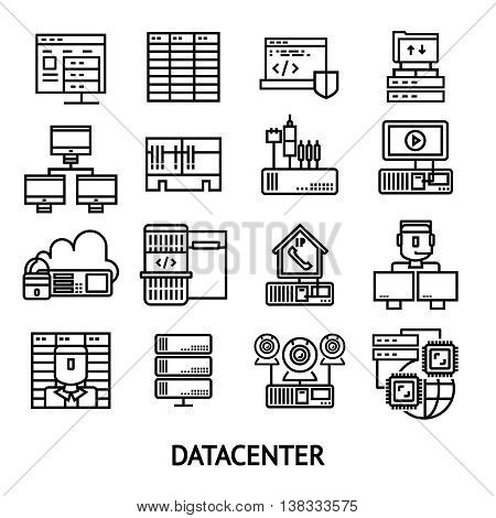 Datacenter monochrome icons set with data protection cloud storage network server operator workstation internet isolated vector illustration
