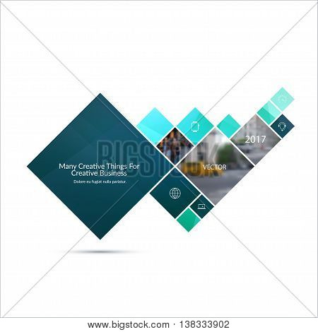 Vector Design Element for graphic layout. Abstract background template with blue squares and arrow for business and communication in flat style with mosaic connection concept. Modern poster.
