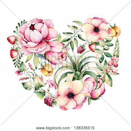 Watercolor heart with peony, field bindweed, branches,lupin,air plant, strawberry.