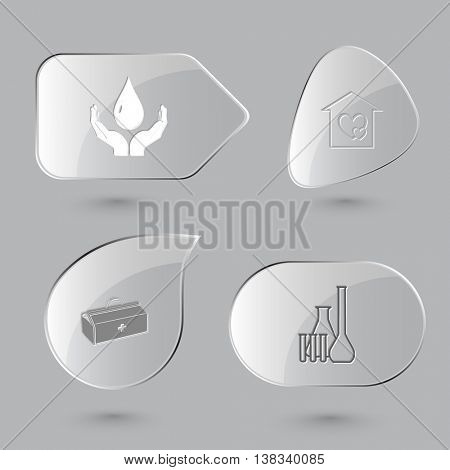 4 images: protection blood, orphanage, medical suitcase, chemical test tubes. Medical set. Glass buttons on gray background. Vector icons.