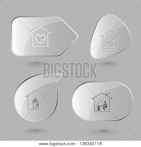 4 images: orphanage, home reading, family, work. Home set. Glass buttons on gray background. Vector icons.