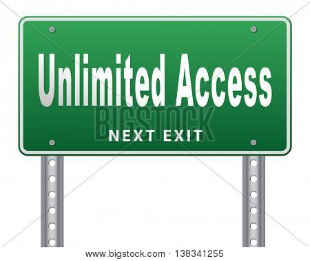 Unlimited access all areas no restrictions VIP membership, 3D illustration, isolated, on white