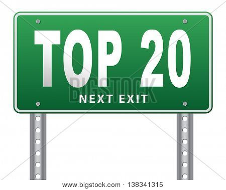 top 20 charts list pop poll result and award winners chart ranking music hits best top twenty quality rating prize winner sign, 3D illustration, isolated, on white