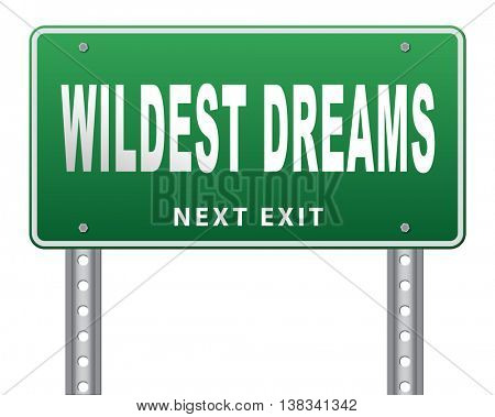 Wildest dreams make dreams come true realize your ambition, 3D illustration, isolated, on white