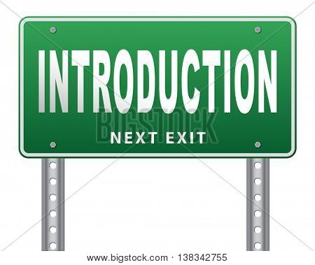 Introduction or about us road sign a biography or bio 3D illustration, isolated, on white
