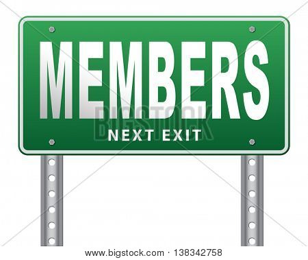 members only membership required restricted area only for VIP 3D illustration, isolated, on white