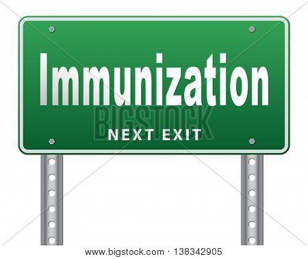 Immunization or flu vaccination needle, road sign billboard. 3D illustration, isolated, on white