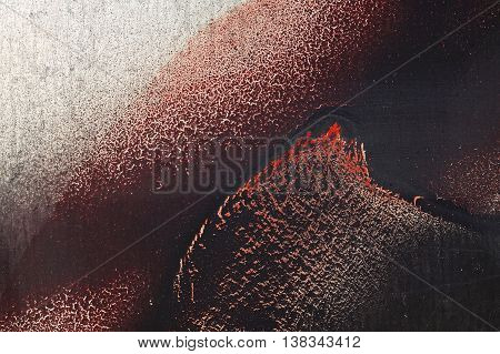 Cracked Red Paint On Grunge Metal Surface - Macro 13
