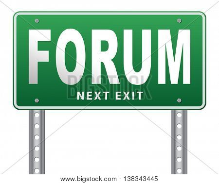 forum internet icon website www logon login and subscribe to participate in discussion  3D illustration, isolated, on white