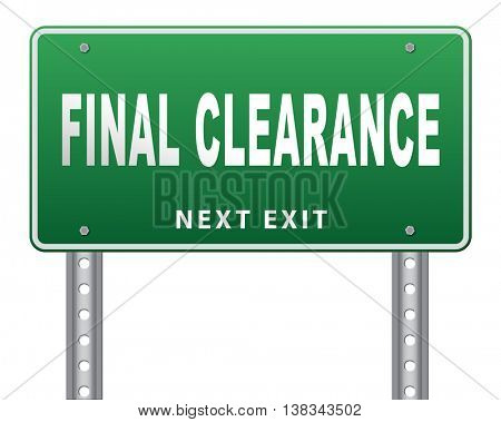 final clearance and big stock sale road sign for webshop sales or web shop billboard 3D illustration, isolated, on white