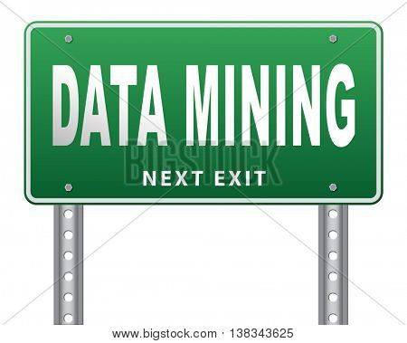 data mining analysis and search big data for specific information and statistics 3D illustration, isolated, on white