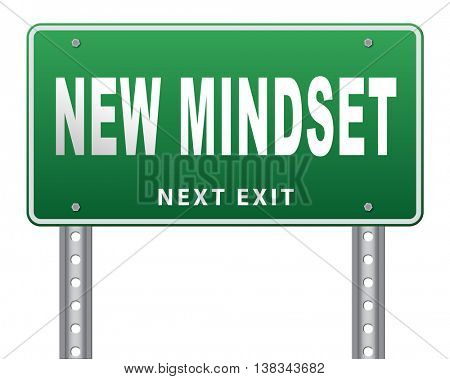 change your mindset, a new way of thinking, think different. Change your ways. 3D illustration, isolated, on white