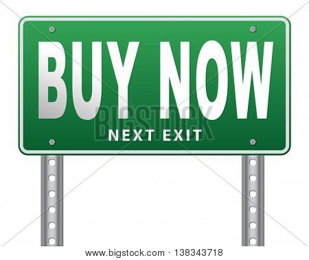 Buy now sign and here online sales sell on internet shop online shop buy and add to cart sign shopping webpage. 3D illustration, isolated, on white