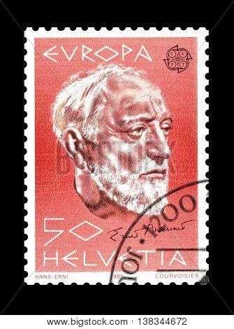 SWITZERLAND - CIRCA 1985 : Cancelled postage stamp printed by Switzerland, that shows Ernest Ansermet.
