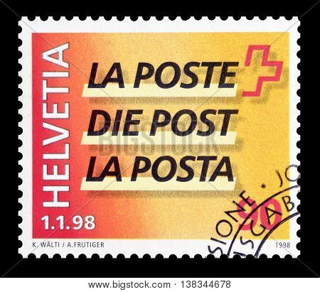 SWITZERLAND - CIRCA 1998 : Cancelled postage stamp printed by Switzerland, that shows Logo of the post.