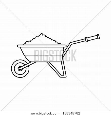 Wheelbarrow loaded with soil icon in outline style isolated vector illustration