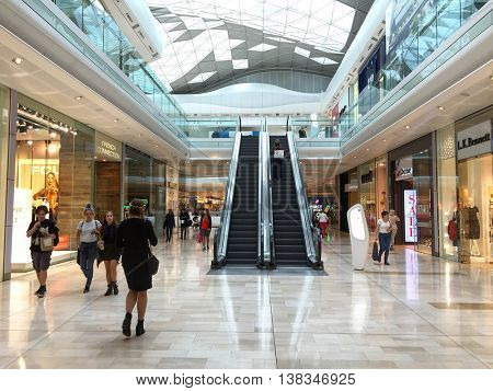 LONDON - JULY 13: Westfield Shopping Mall on July 13, 2016 in Shepherds Bush, London, UK.