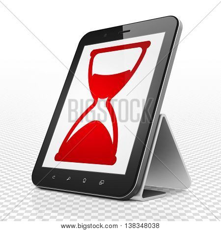 Time concept: Tablet Computer with red Hourglass icon on display, 3D rendering