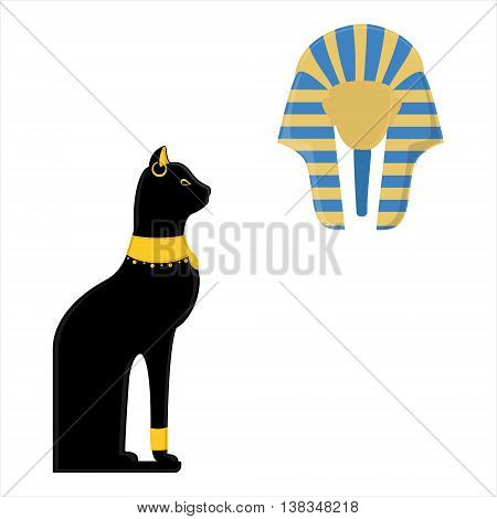 Vector illustration of a black sitting Egyptian cat and egyptian mask of Tutankhamen isolated on white background. Bastet egypt cat