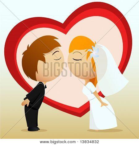 Cartoon Bride And Groom Kiss