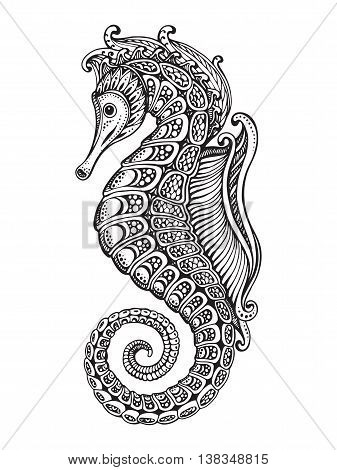 Hand drawn graphic ornate seahorse with ethnic doodle pattern.Vector illustration for coloring book, tattoo, print on t-shirt, bag. Isolated on a white background.