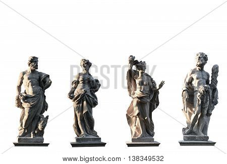 Four Gods on white background from XVIII century Jove Juno Medusa Hercules